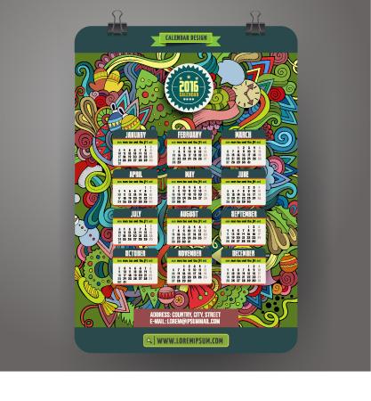 Desain Tamplate Kalender 2016 Berornament