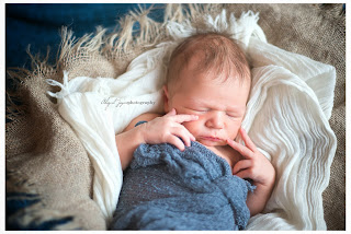 newborn  photo with newborn with blue blanket and hands on cheek