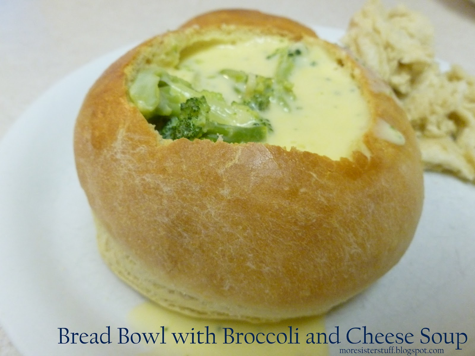 For serving, cut a large round out of the top of each bread bowl. Scoop out the center (save the center to dunk into soup!) and fill with soup. Cover and store leftover bread bowls at room temperature for a couple days or in the refrigerator for 1 week.