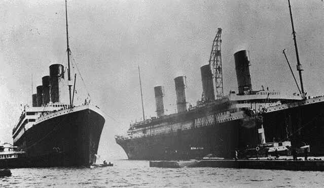 Documentary Photographs of Titanic: Olympic and Titanic Side by Side