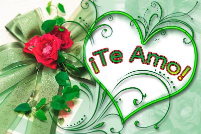 Postal de Amor con rosa, corazon y mensaje Te Amo