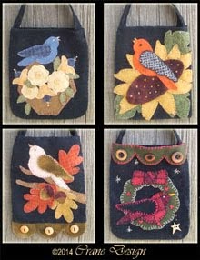 Tweets 4 You A collection of 4 Gift or Twig Wool Applique Bags