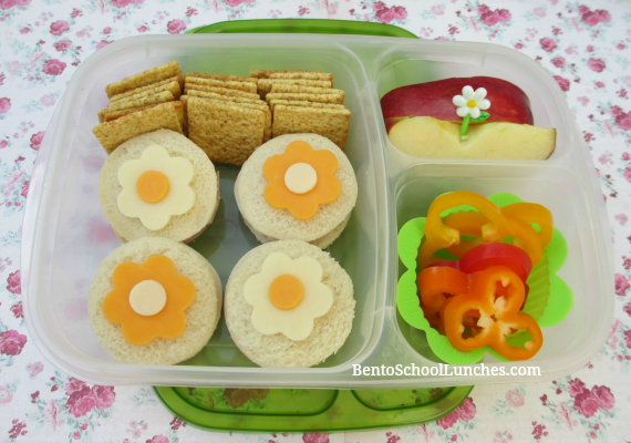 Circle flowers tea sandwiches, bento school lunches
