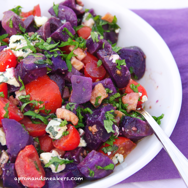 ... Beyond: Vitelotte Potato Salad with Blue Cheese, Pancetta & Tomatoes