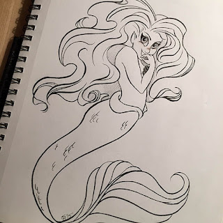 Black and white ink drawing of a coy sexy mermaid