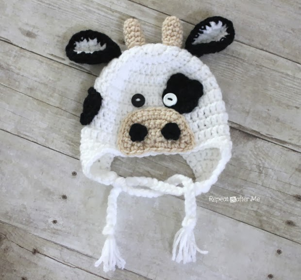 Free Crochet Pattern For Cow Hat : Repeat Crafter Me: Crochet Cow Hat Pattern