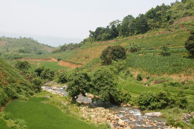 Paisaje idílico en el camino a Lao Cai.