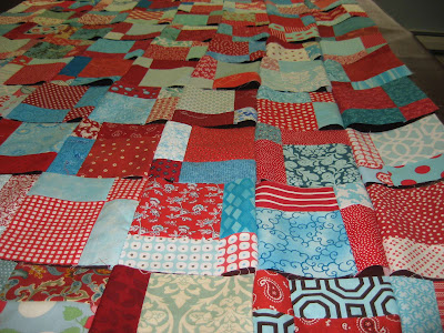 Chain Piecing My Red and Aqua Swap blocks