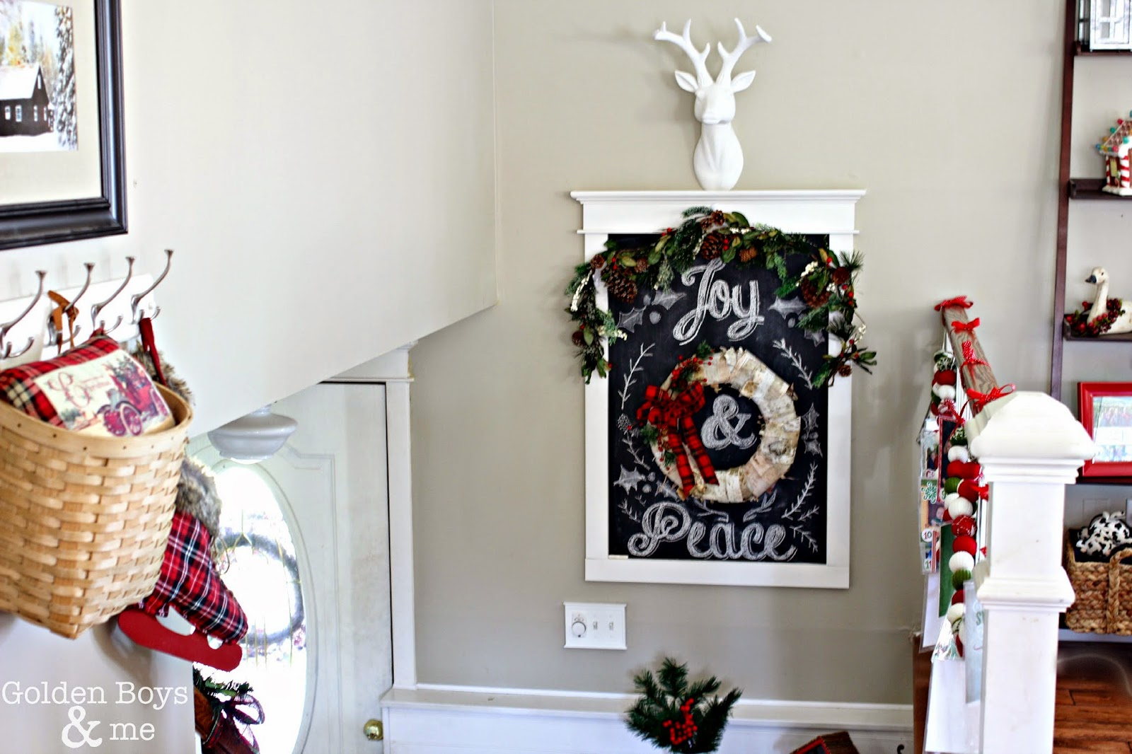 DIY chalkboard with Christmas chalk art in rustic entryway-www.goldenboysandme.com