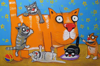 Father cat surrounded by his kids kittens, became parent, milk, ball, toys, drawings, funny pictures, comics