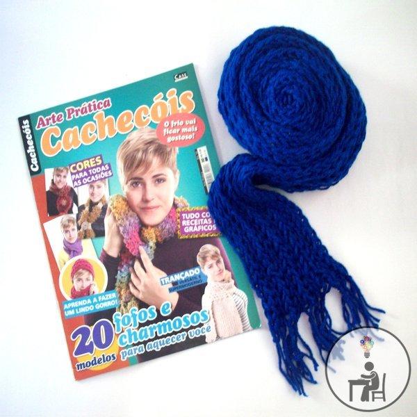 artesanato, crafts, handmade, atelier wesley felicio, case editorial, revistas de artesanato, cachecóis, tricô, crochê, tear de pregos, como fazer cachecóis, cachecol azul