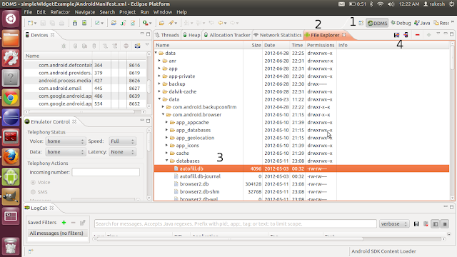 Eclipse Android file browser for SQLite database file access