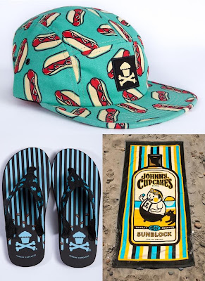 Johnny Cupcakes Summer 2012 Collection - Hot Dog 5 Panel Hat, Frosting Flip Flops & Big Kid Towel