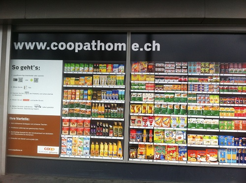 Virtual shelves of food items for purchase with a smart phone