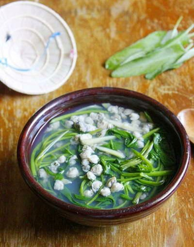 Water Spinach with Small Mussel Soup - Canh Hến Rau Muống