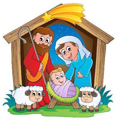 Ilustración de la Sagrada Familia celebrando el Nacimiento de Jesús
