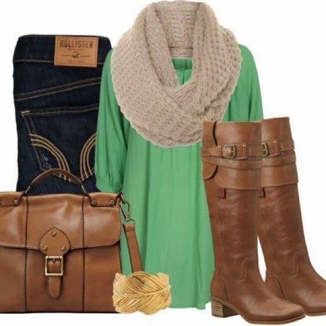 Warm scarf, blouse, jeans, hand bag and long boots for fall