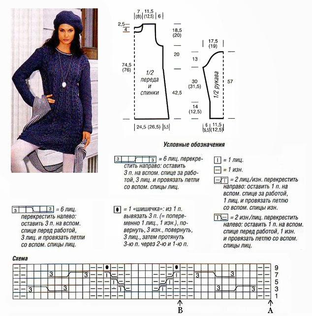 Вязание спицами платьев и туник схемы 620