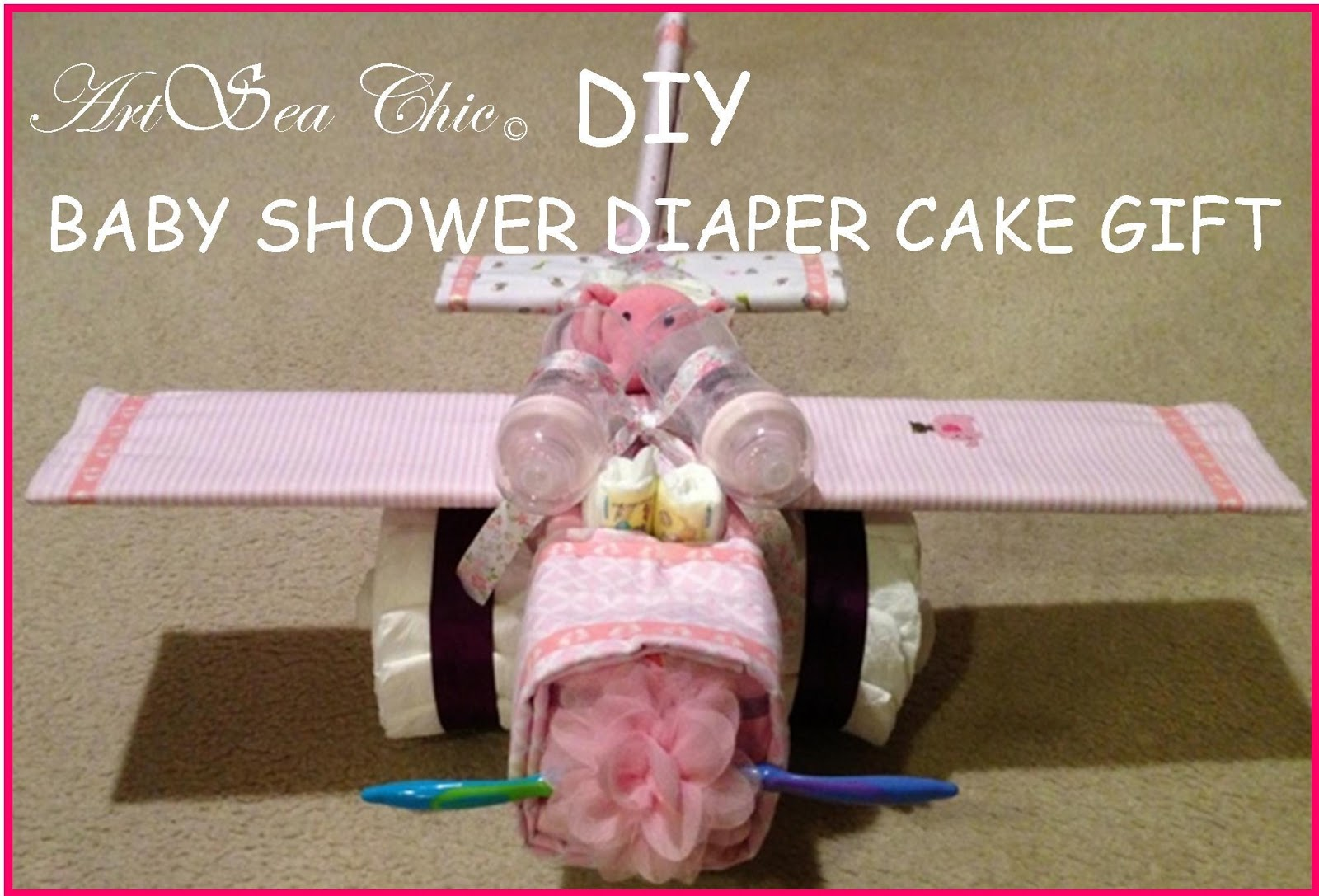 DIY Baby Shower Airplane Diaper Cake Gift