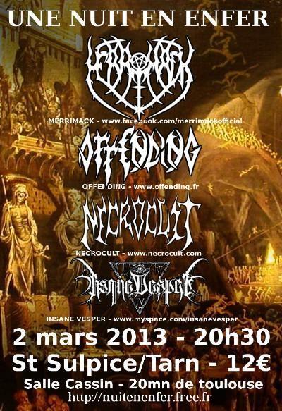 Merrimack / Offending / Necrocult / Insane Vesper @ Salle René Cassin, Saint-Sulpice, 02/03/2013