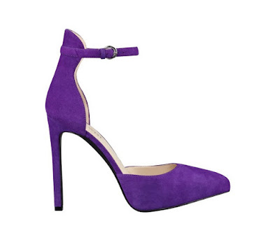 Nine west purple ankle strap high heeled pumps