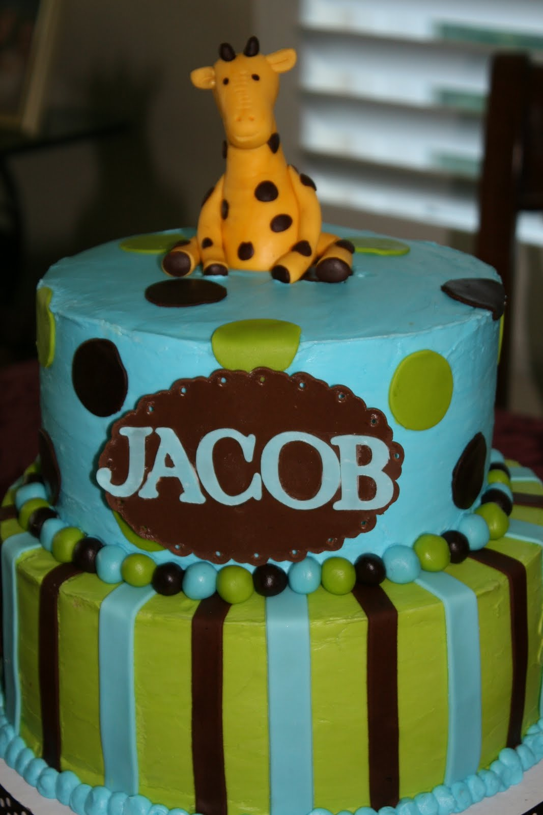 Custom Cookies, Cupcakes and Cake: Giraffe Baby Shower