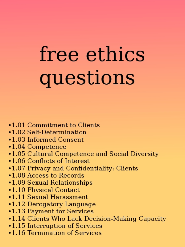 practice test answers code of ethics The american psychological association's (apa) ethical principles of psychologists and code of conduct (hereinafter referred to as the ethics code) consists of an introduction, a preamble, five general principles (a.