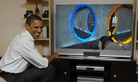 President Obama Playing Portal 2  Game Obama Playing Xbox