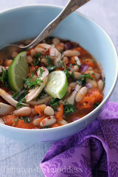 A bowl of gluten free goddess chicken chili with white beans