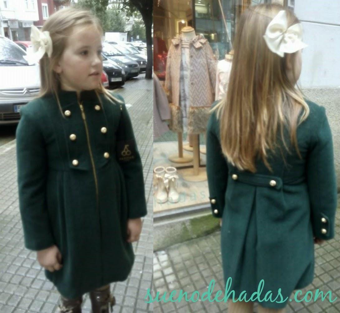 Abrigo niña estilo militar verde botella - Sanmar