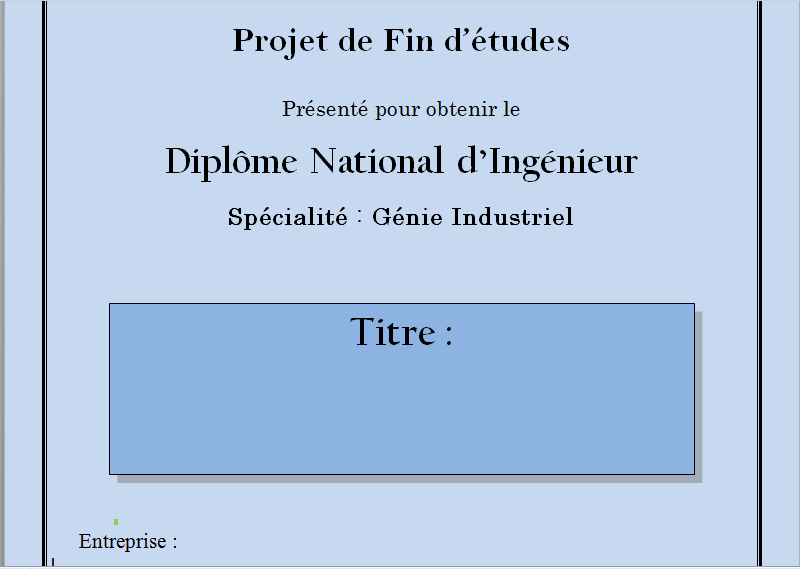 Bien-aimé Page de Garde PFE Génie Industriel - RapportDeStage NM77