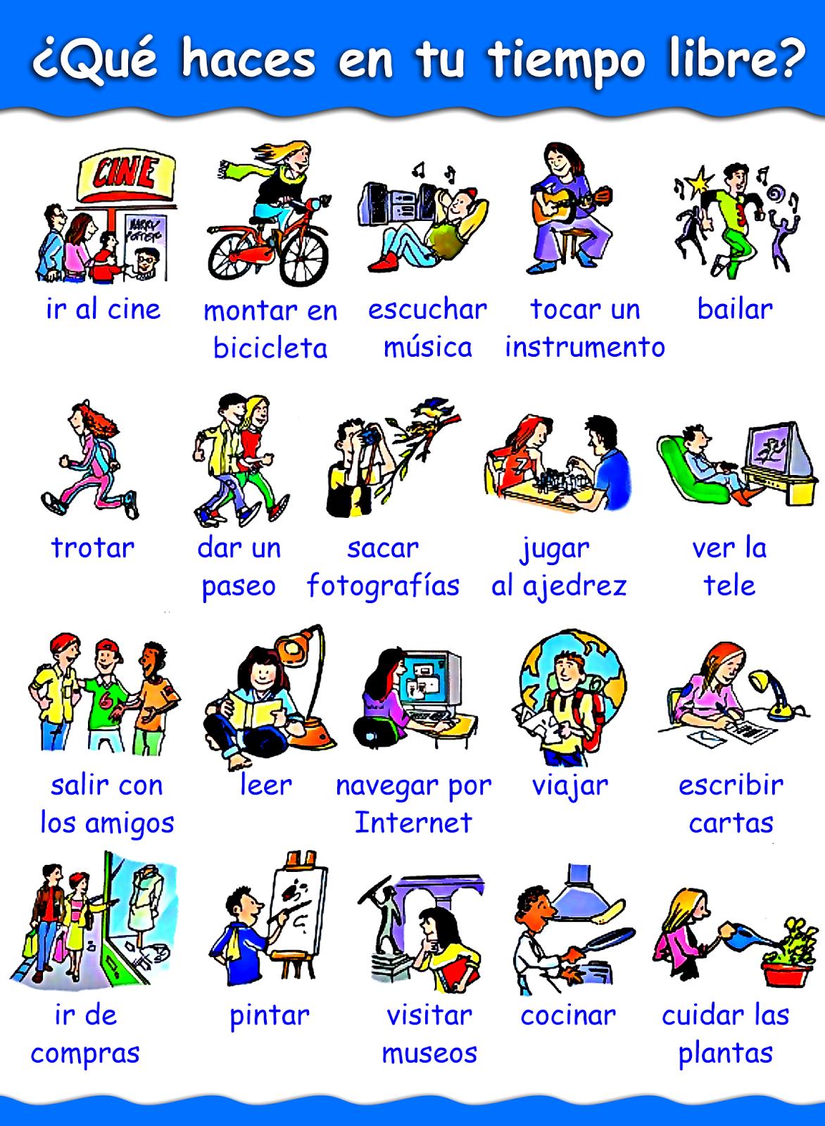 Me encanta escribir en español: El tiempo libre: ¿Qué sueles hacer?