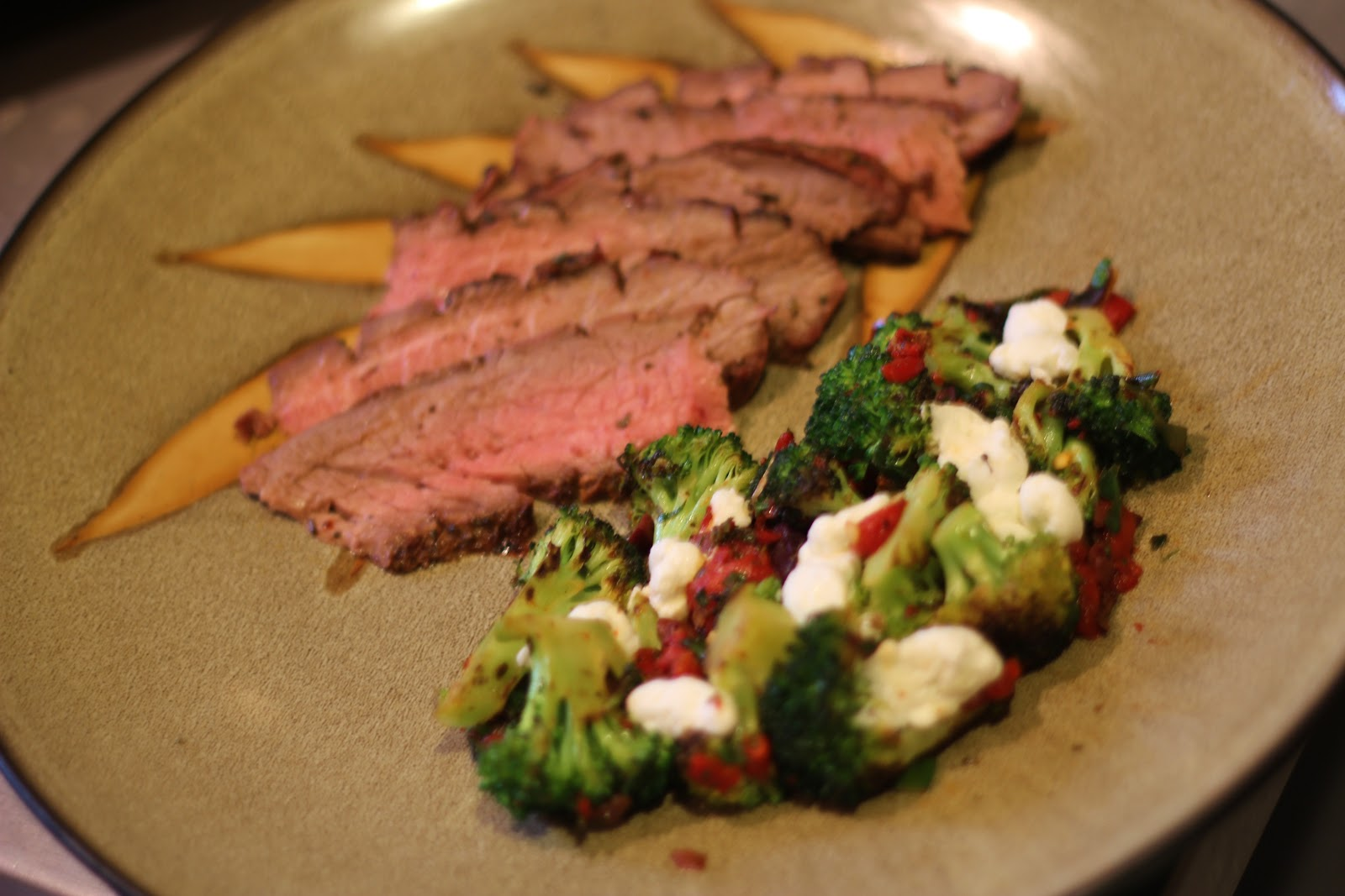 Marinated Flank Steak and Sauteed Broccoli with Roasted Red Peppers ...