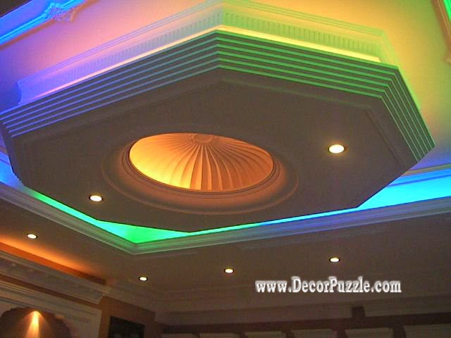 suspended ceiling, pop false ceiling design of gypsum with LED ceiling lights multicolors