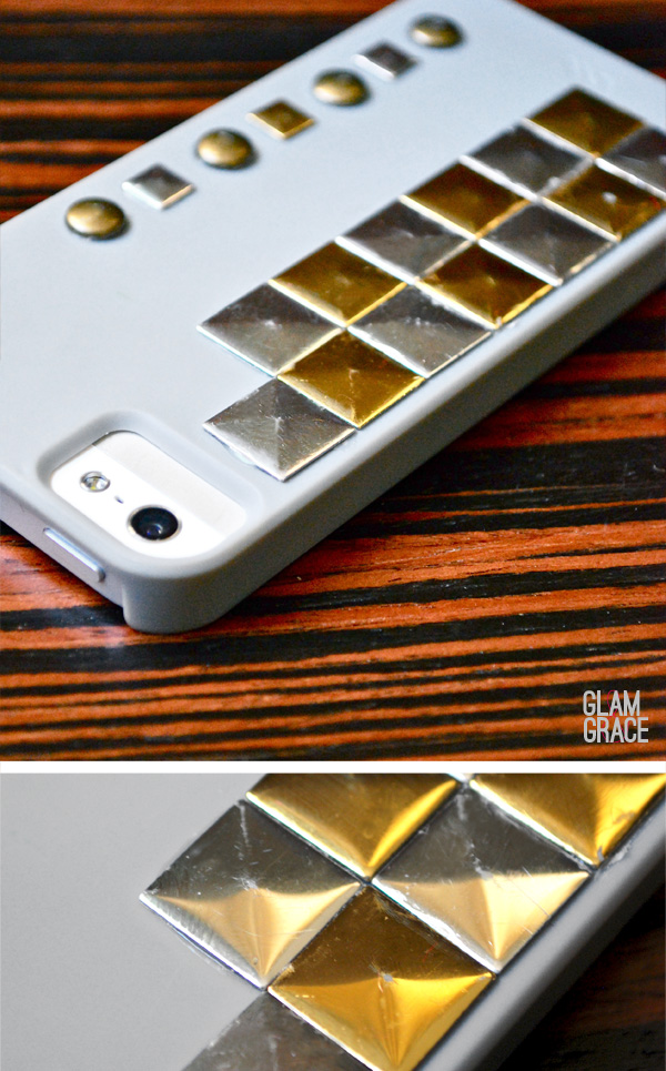 DIY studded iphone case - silver and gold
