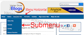 Menu e Submenu horizontal para Blogger