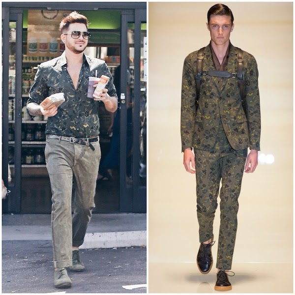 Adam Lambert Gucci floral shirt at Great Earth Vitamin Store West Hollywood 3rd July 2014