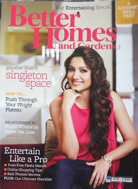 Gauhar Khan on Cover Page of Better Home and Gardens September 2013