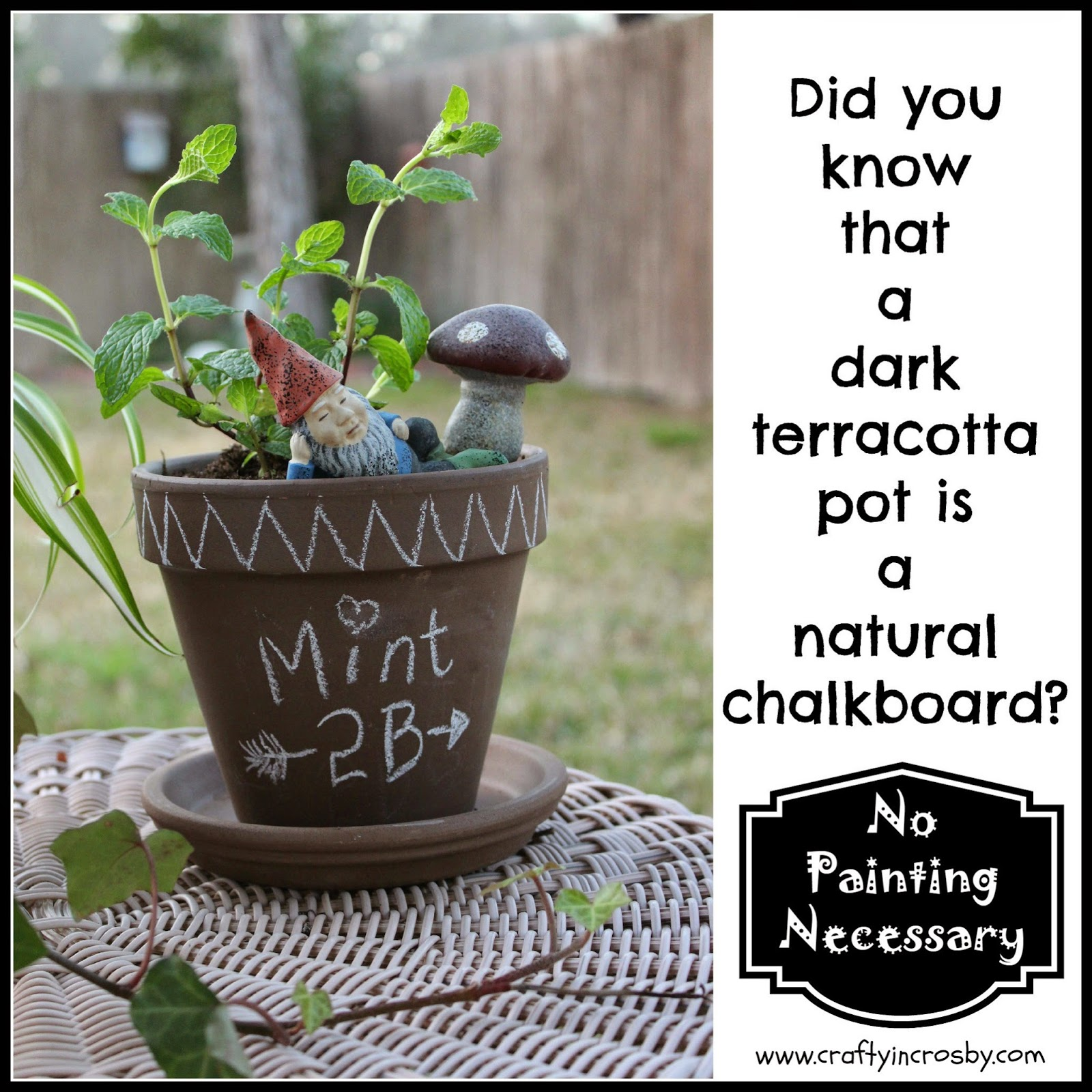 chalkboard, terracotta pot, no paint chalkboard