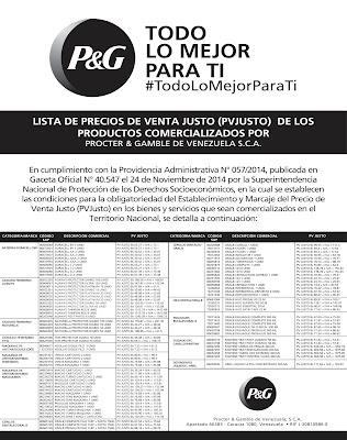 Nueva lista de Precios de Venta Justos es publicada por Procter & Gamble en Venezuela