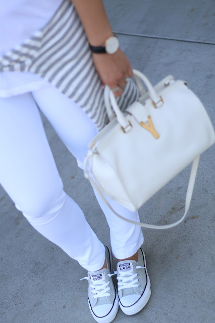 simplyxclassic, all white outfit, grey and white outfit, saint laurent handbag, ysl bag, chucks, converse, kicksusa, dl1961, mydlmoment, jcrew, gap, ootd, mom blogger, fashion blogger, orange county, blogge