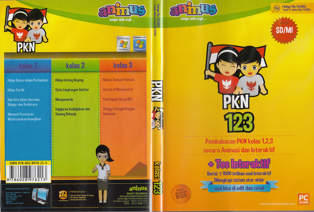 Cd Animus Pkn Kelas 1 2 3 Sd Mi Toko Buku Rahma