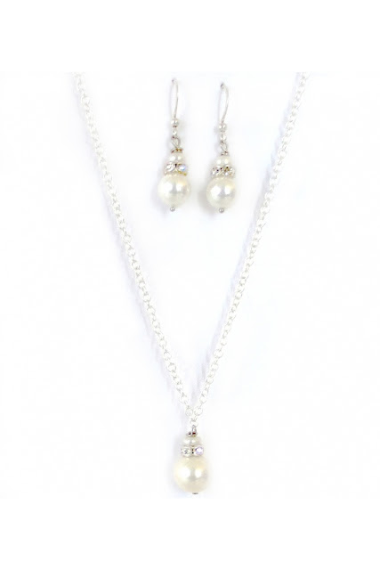 "Simply Bridal, 16""-18"" Silver Plated Chain Necklace and Earrings with White Majorica Pearl"