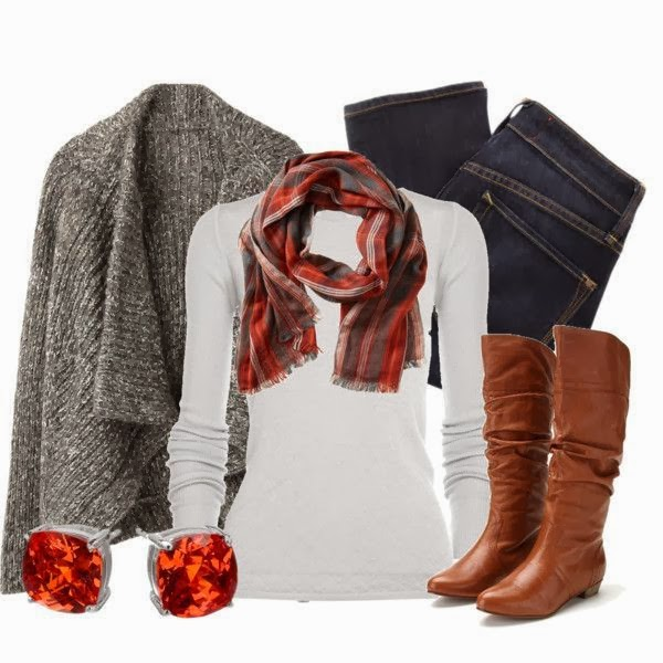 Grey Woollen Shawl, White Sweater, Amazing scarf, Jeans and Long Boots for Winters Outfit