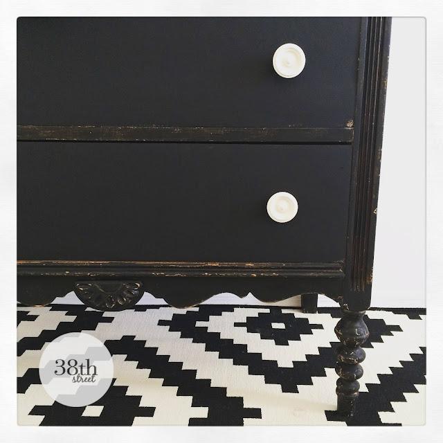 black and white dresser, before and after, diy, furniture makeover, refinished furniture, painted black dresser