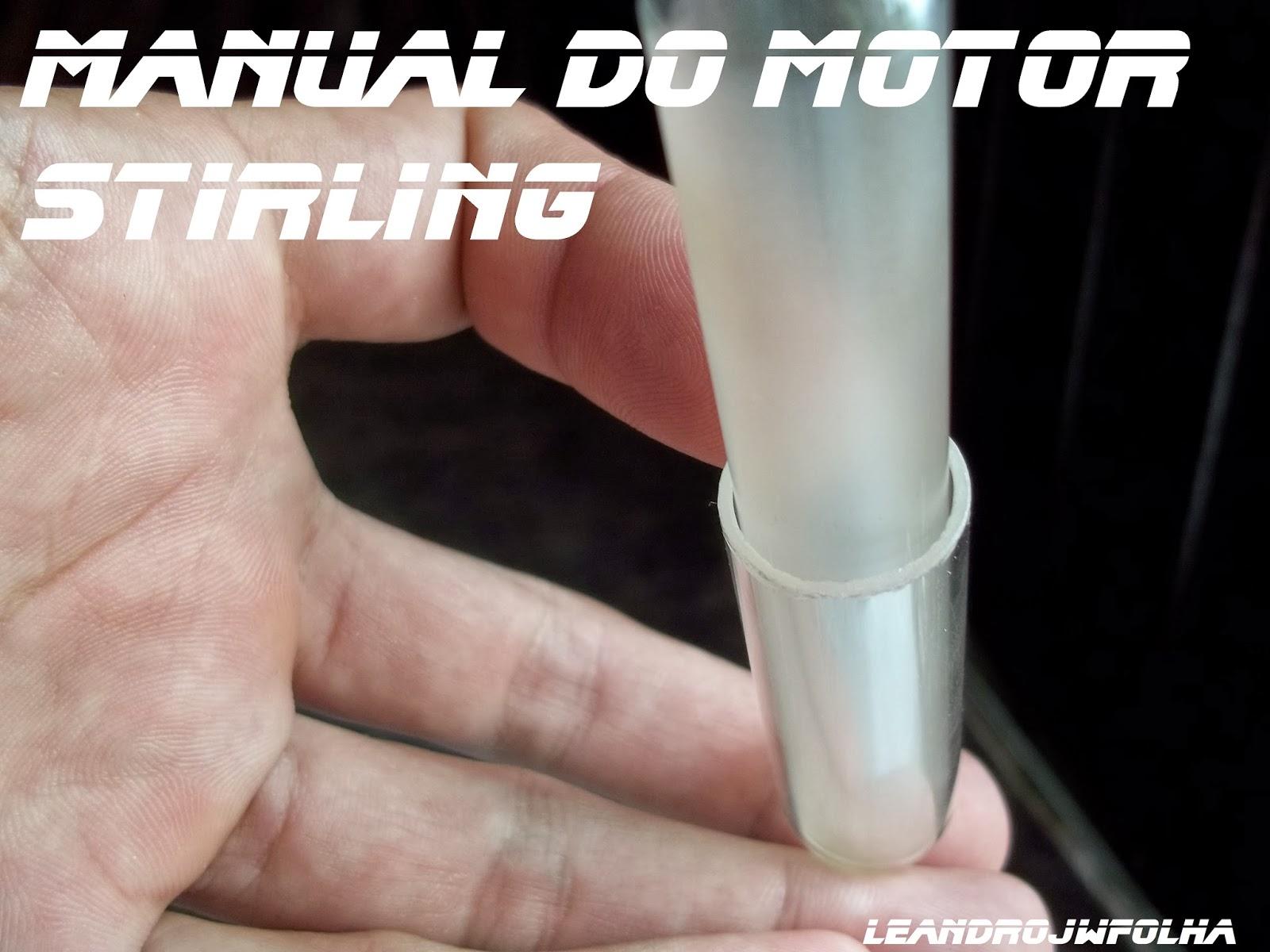 Manual do motor Stirling, pistão de vidro, inserido no tubo de ensaio