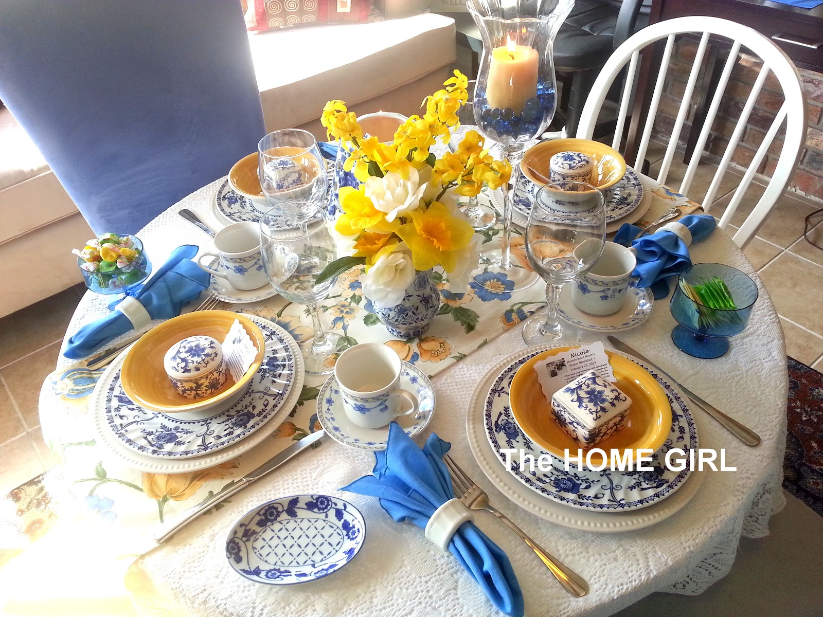 The home girl ladies prayer breakfast tablescape for Breakfast table decor ideas