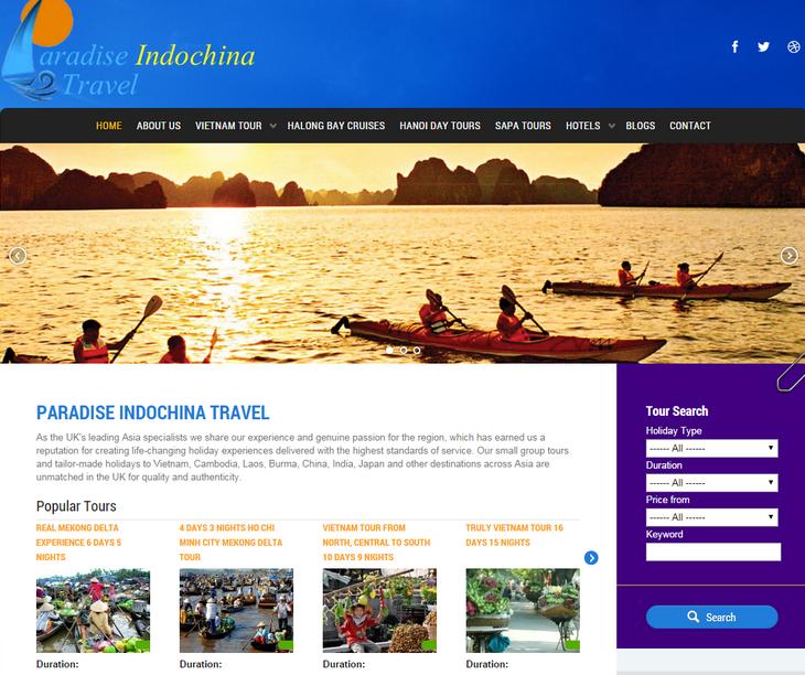 Thiết kế website bằng wordpress, thiết kế web du lịch