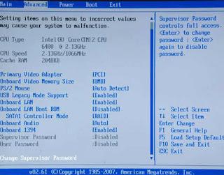 laptop bios settings page