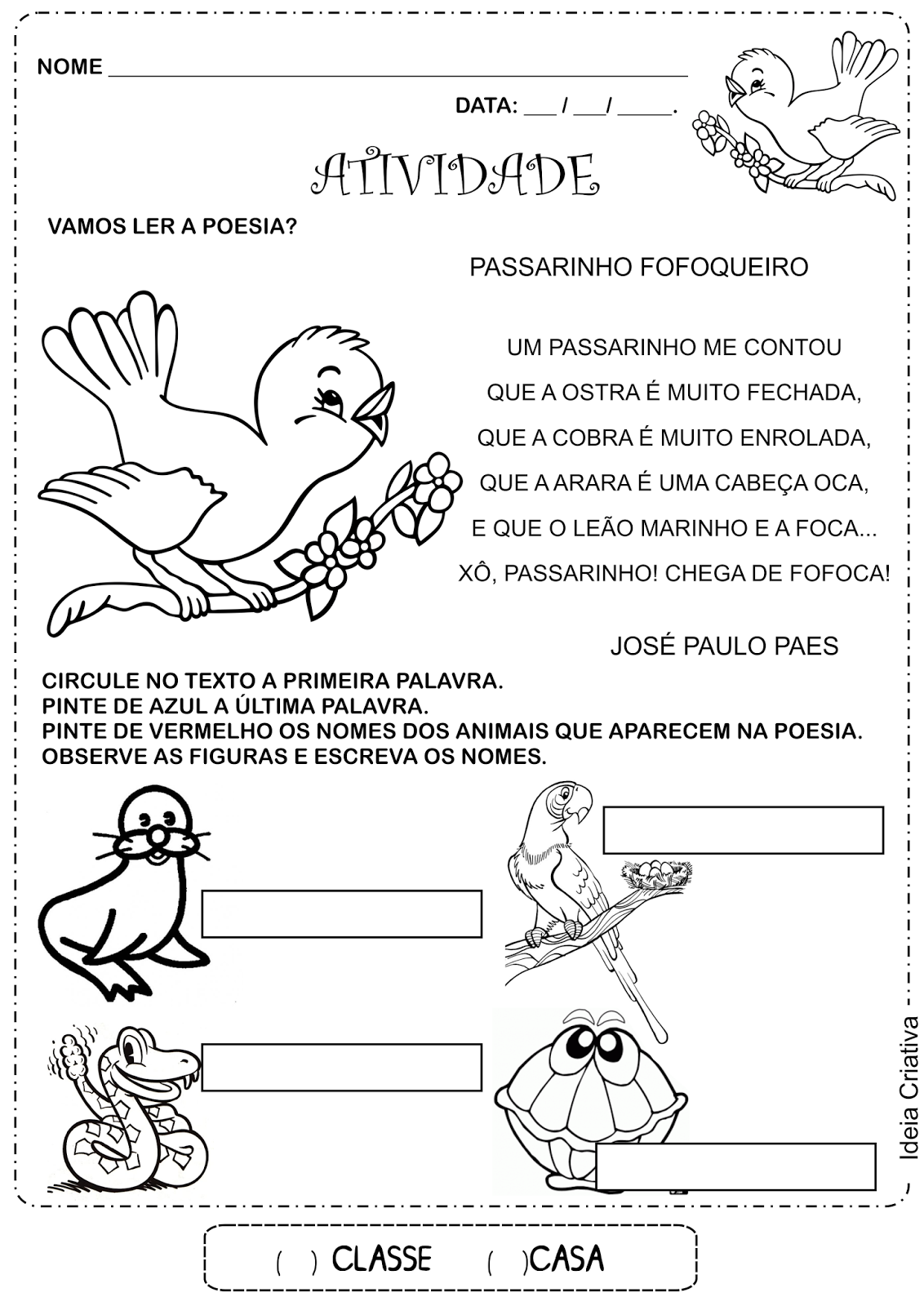 Atividade Diagnóstica 2° Ano Poesia Passarinho Fofoqueiro